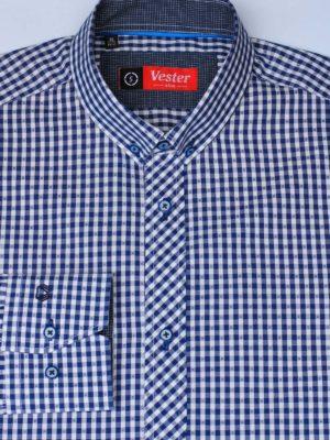 Темно синяя рубашка в клетку Vester 87516 S