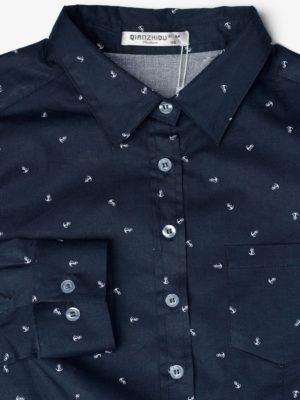 Темно-синяя рубашка с якорями фон