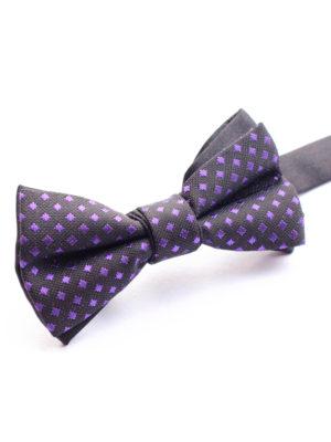 Галстук-бабочка детская черная с фиолетовым
