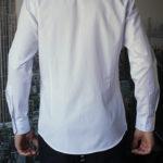 Белая рубашка в тонкую синюю полоску Vester 68814 W сзади