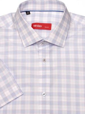 Белая рубашка с коротким рукавом в широкую голубую клетку Vester 88916 S