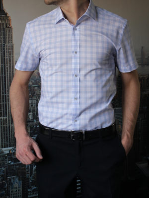 Белая рубашка с коротким рукавом в широкую голубую клетку Vester 88916S_07