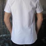Приталенная белая рубашка с коротким рукавом Vester 86014 S сзади