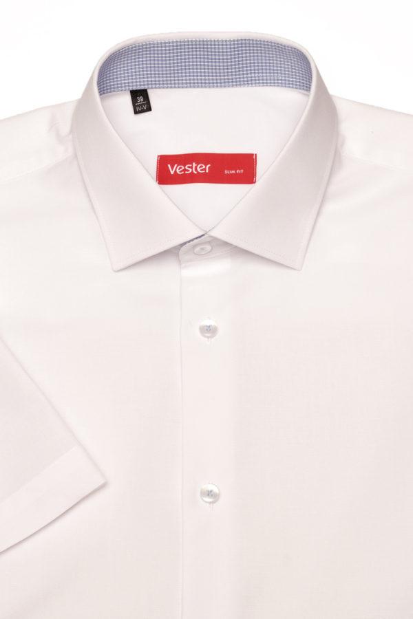 Приталенная белая рубашка с коротким рукавом Vester 86014 S
