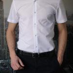 Приталенная белая рубашка с коротким рукавом Vester 86014S_01