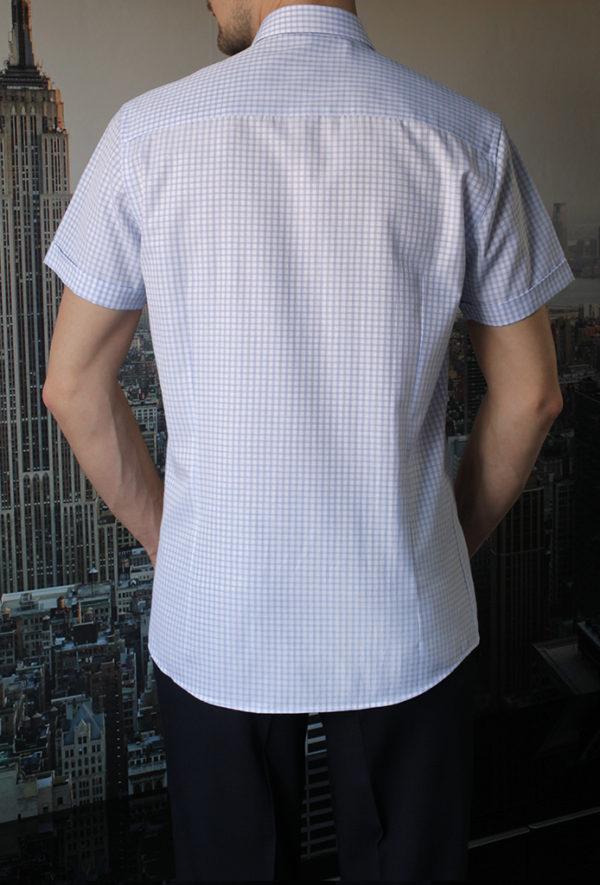 Рубашка в голубую полосатую клетку Vester 72914 S сзади