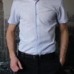 Рубашка в голубую полосатую клетку Vester 72914S_03