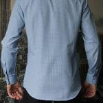 Рубашка в синюю клетку с зелеными линиями Vester 68814 W сзади
