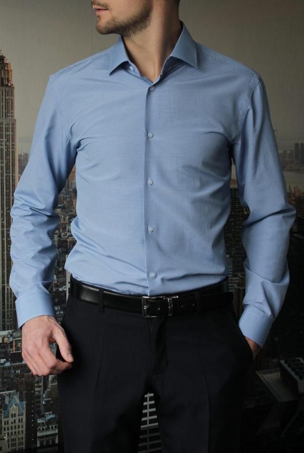 Рубашка в синюю клетку с зелеными линиями Vester 68814W_03