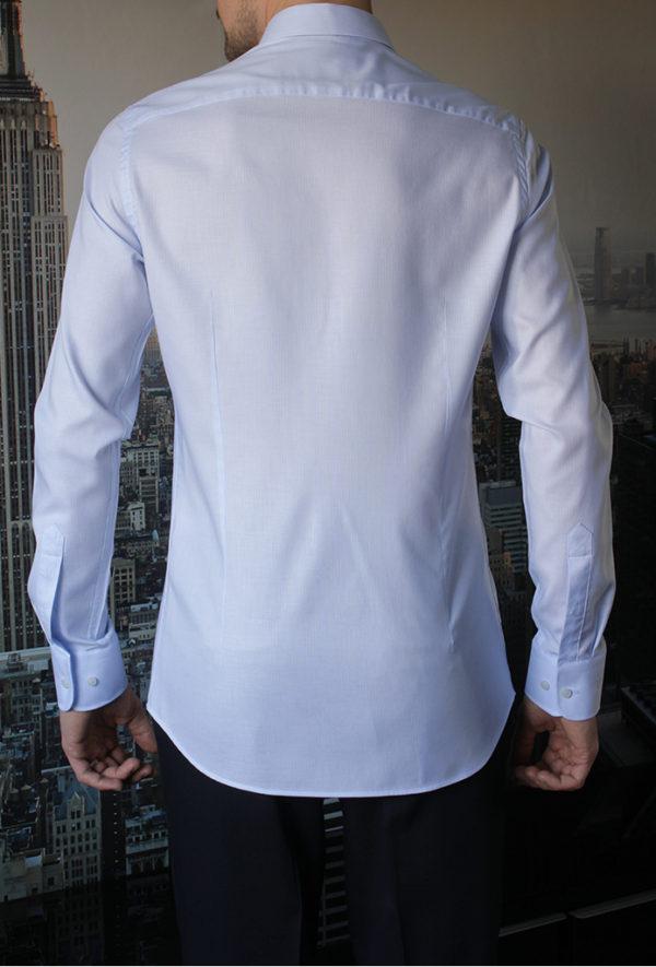 Рубашка нежно-голубая фактурная Vester 10416 W сзади