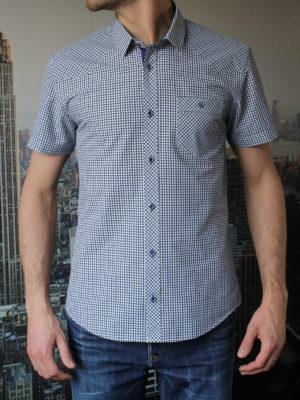 Рубашка с коротким рукавом в зеленую в клетку Vester 80814 E спереди