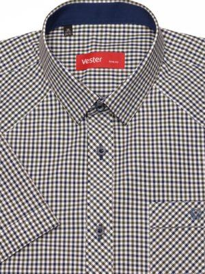 Рубашка с коротким рукавом в зеленую в клетку Vester 80814 E