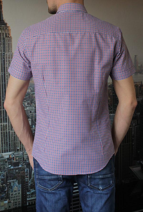 Рубашка с коротким рукавом в красную клетку Vester 80814 E сзади