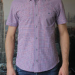 Рубашка с коротким рукавом в красную клетку Vester 80814 E спереди