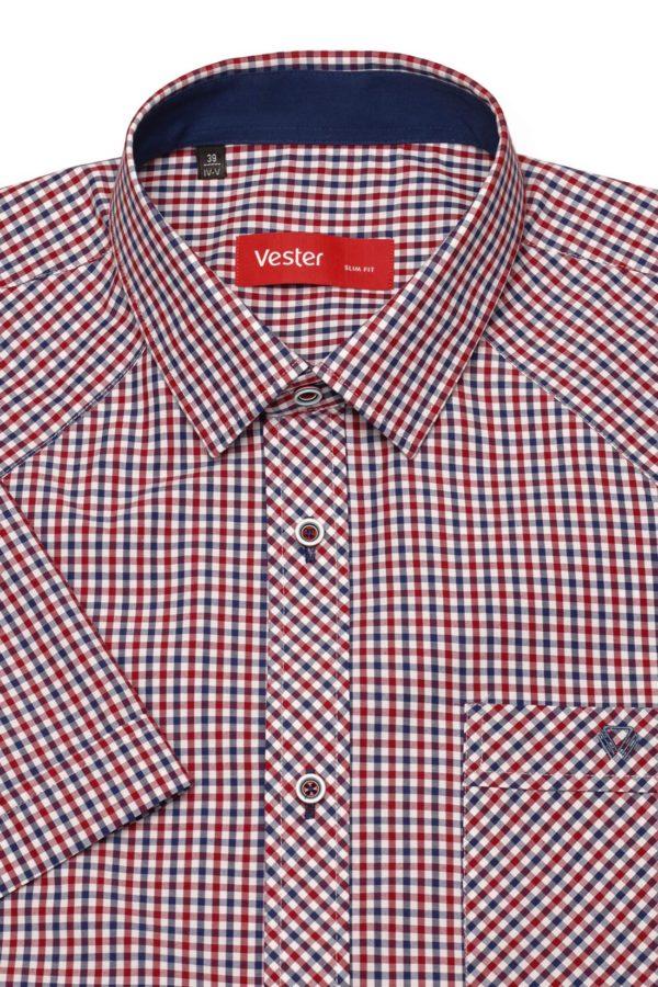 Рубашка с коротким рукавом в красную клетку Vester 80814 E