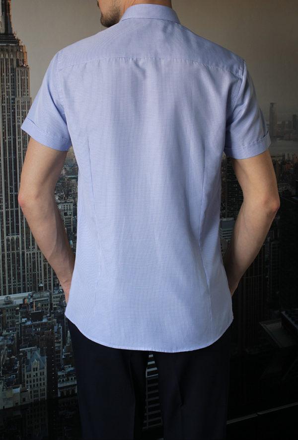 Рубашка с коротким рукавом в мелкую синюю клетку Vester 72914 S сзади