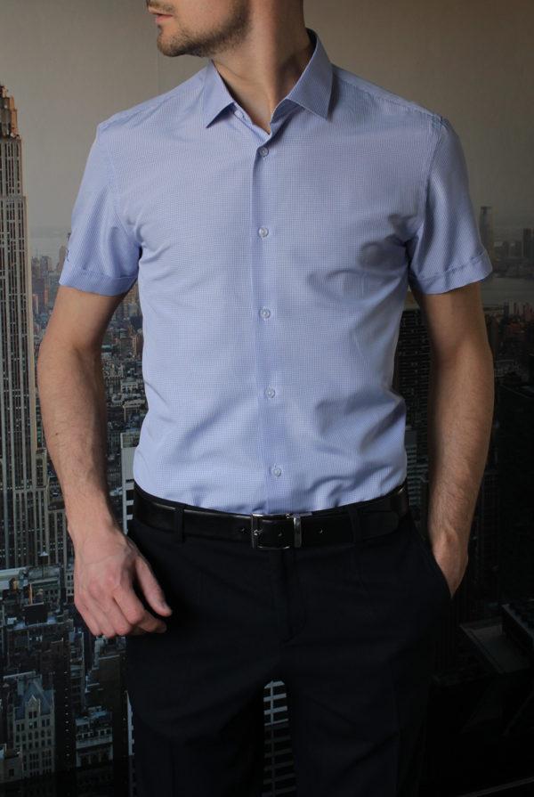 Рубашка с коротким рукавом в мелкую синюю клетку Vester 72914S_05