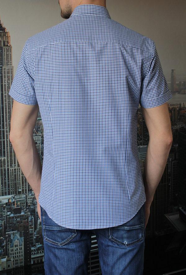 Рубашка с коротким рукавом в синюю клетку Vester 80814 E сзади
