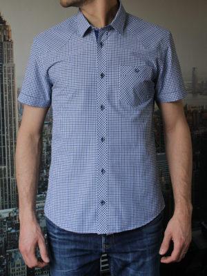 Рубашка с коротким рукавом в синюю клетку Vester 80814 E спереди
