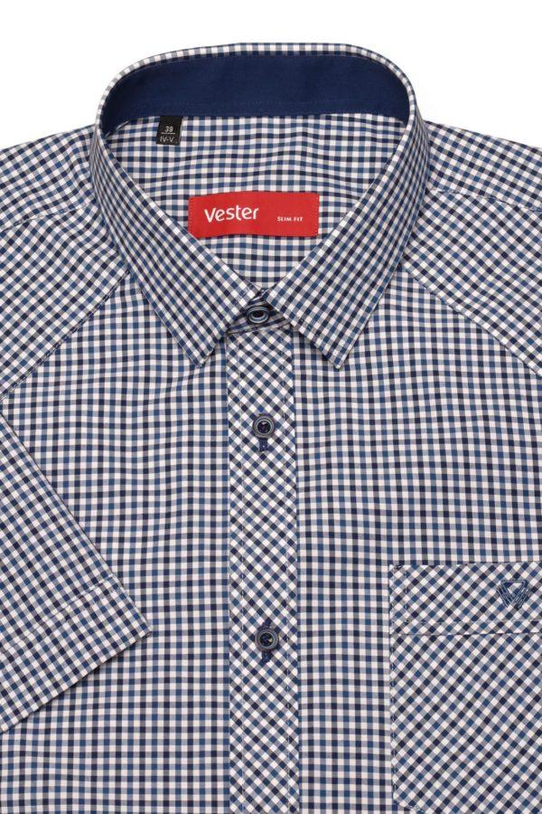 Рубашка с коротким рукавом в синюю клетку Vester 80814 E