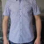Рубашка с коротким рукавом в широкую синюю клетку Vester 10814 E спереди