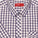 Рубашка с коротким рукавом в широкую синюю клетку Vester 10814 E